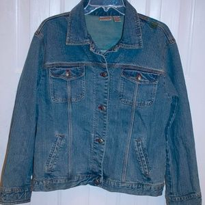 Chicos Size 2 (L) Stretch Denim Embroidered Jacket